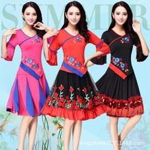 广场舞舞蹈服装秋冬季新款演出服绣花系列中老年服装一件代发