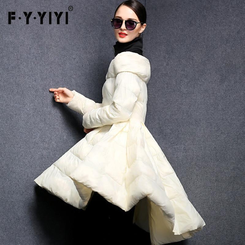 欧洲站新款新款收腰立领中长款裙摆修身显瘦轻薄羽绒服女一件代发
