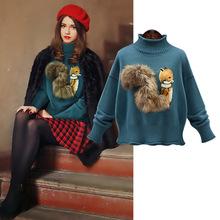2018冬季新款欧美风春秋新款狐狸图案高领纯色长袖毛衣针织打底衫