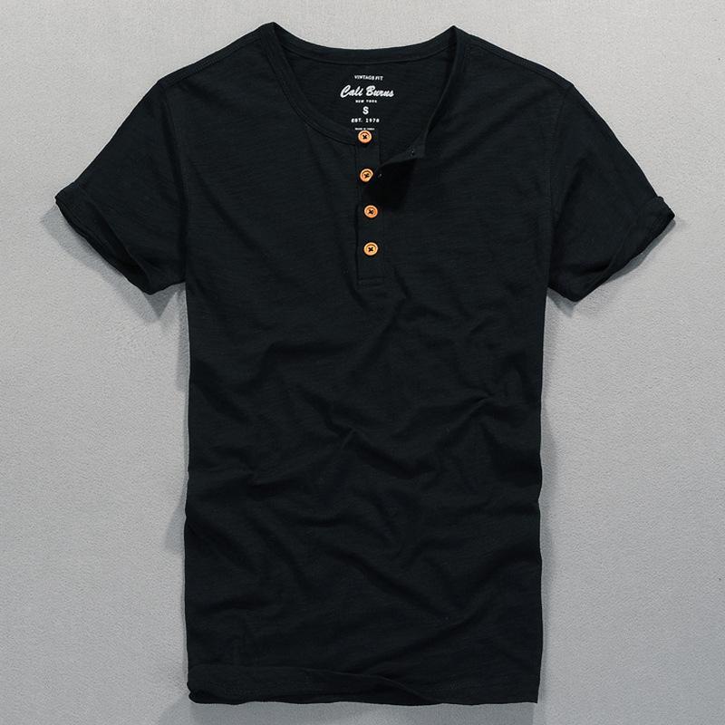 夏季新款男式T恤短袖门筒领薄款纯棉T恤修身纯色休闲男装一件代发