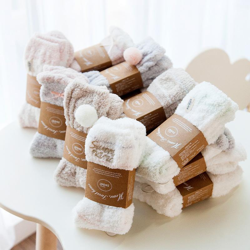 日系刺绣半边绒袜子秋冬珊瑚绒家居袜加厚保暖素色女士地板袜中筒