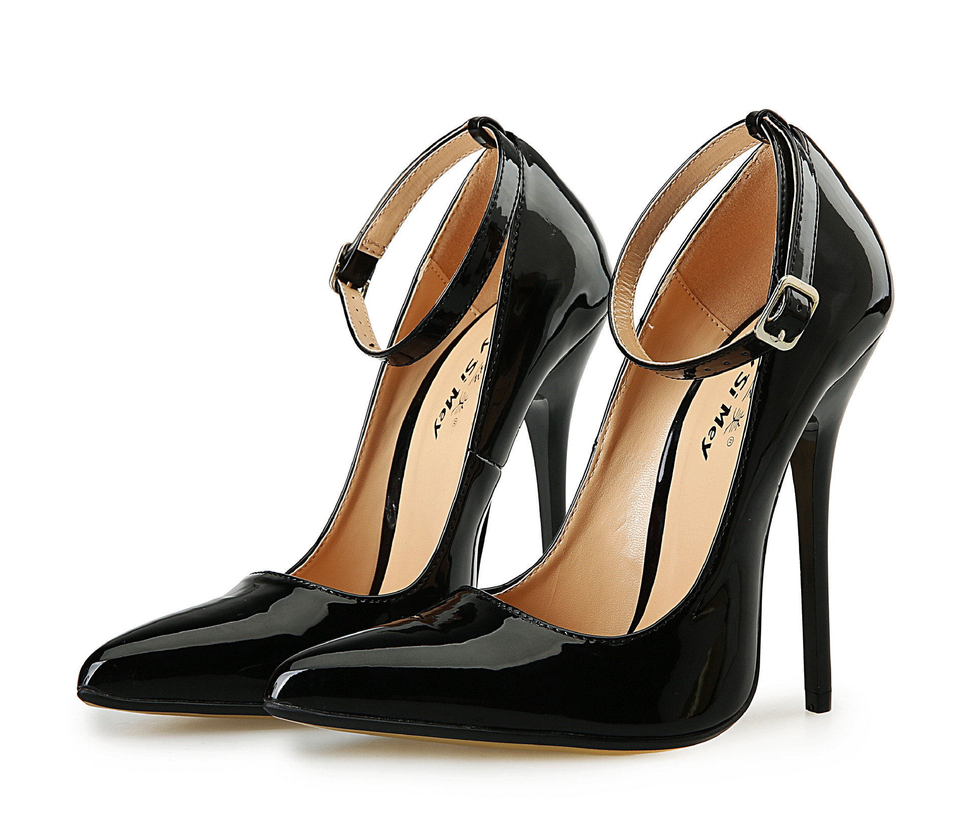 7442b813982 40 49 Plus Size 13cm High Heel Women S Shoes Pointed Toe Leather ...