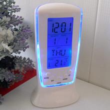 新款藍屏背光萬年歷時鐘 多功能LED電子夜光懶人鬧鐘 溫度計鬧鐘