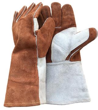 高州永佳皮革供应二层牛皮焊工bob注册 加长吗啡色双层挂里全皮电焊