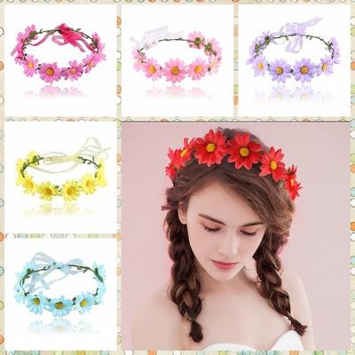 2pcs Small daisy flower hair accessory Scenic vacation photo accessories 9 Sunflower Children women Ribbon Garland Headdress