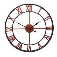 跨境家居復古客廳鐵藝掛鐘北歐裝飾時鐘圓形羅馬靜音鐘表廠家批發