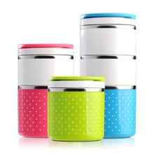 不锈钢波点饭盒圆形彩色儿童便当盒圆点二三层多层组合学生保温桶
