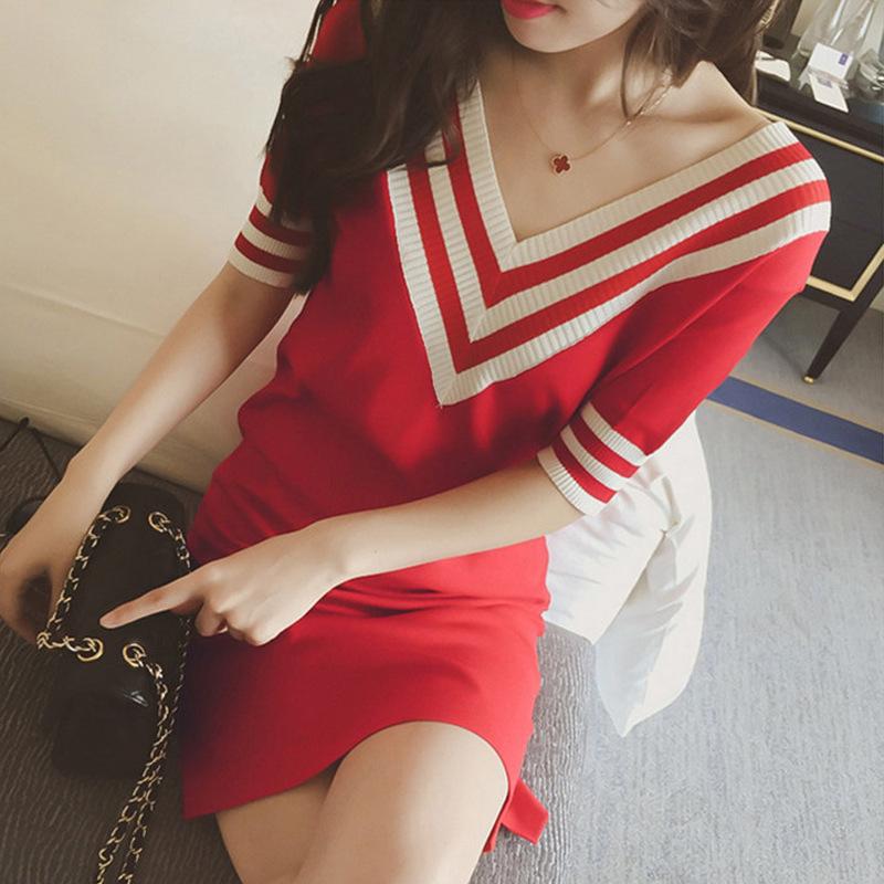 连衣裙夏2019网红女装新款韩版精品性感短袖长裙子大码流行7922