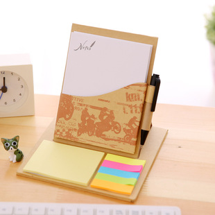 Ai Nan Eco-friendly Memo Pad Set Kraft Paper Hard Shell Base Sticky Note Can be customized with advertising wholesale