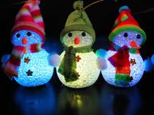 廠家批發 圣誕節小夜燈擺件 透明水晶七彩雪人小夜燈 圣誕裝飾品