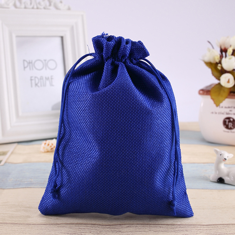 14*19Cm spot hessian bags linen drawcord beam pocket gift jewelry products small blue linen cloth bag