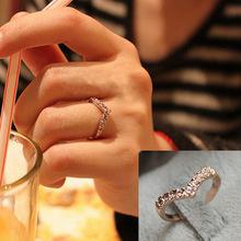 D025韩国饰品V型 V形独特设计款 镶钻简约 戒指 满钻爱心尾戒 女