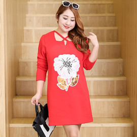 Direct supply for large size women's joined autumn and winter wear fat mm plus velvet thick dress 0360
