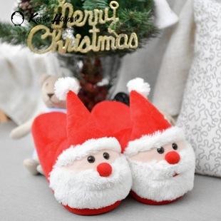 圣诞老人居家儿童棉鞋室内家居可爱儿童棉拖鞋 冬季卡通保暖棉拖