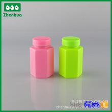 120MLPET六边形塑料药瓶,胶囊瓶,维生素瓶药用固体保健瓶配PE旋盖