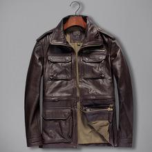 外贸出口男装服装店批发货源欧美休闲真皮皮衣一件代发皮夹克