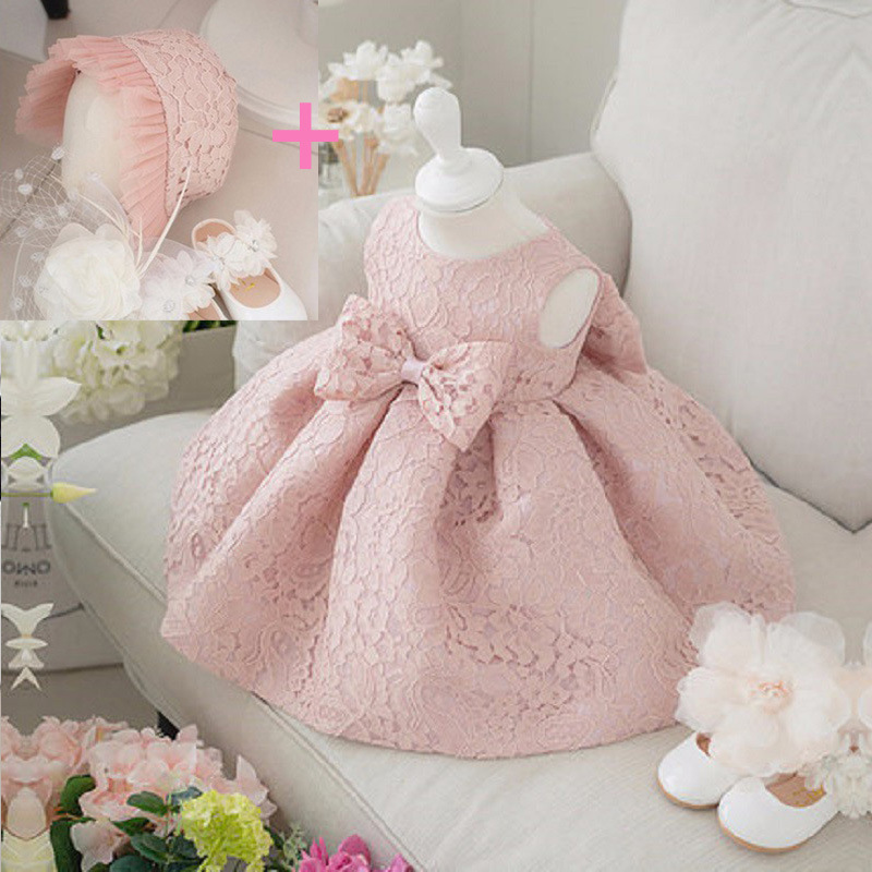 836c5d9fa01e Newborn Baby Gown Infant Girl's Princess Lace Baptism Bow Dress Toddler Baby.  两件套 两件套-2
