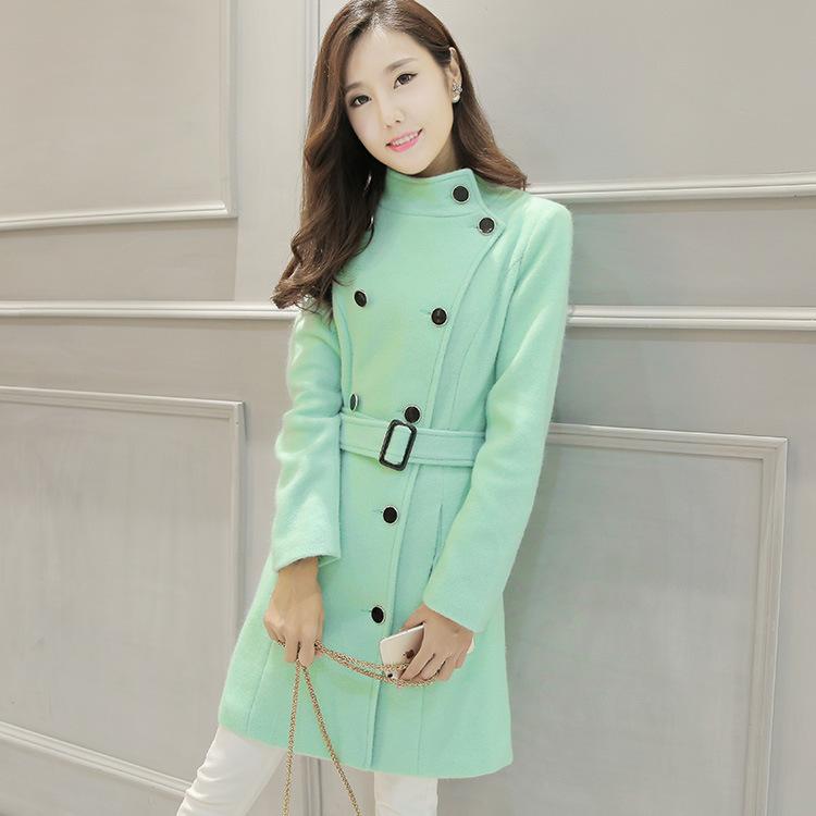 2020秋冬女装时尚显瘦毛呢大衣纯色双排扣中长款毛呢外套大衣