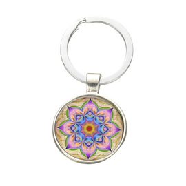 Popular style mandola time gem key chain pendant European and American glass lotus jewel key chain