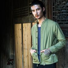 原创中国风外套夹克男复古棉麻修身休闲男士亚麻夹克衣服男装