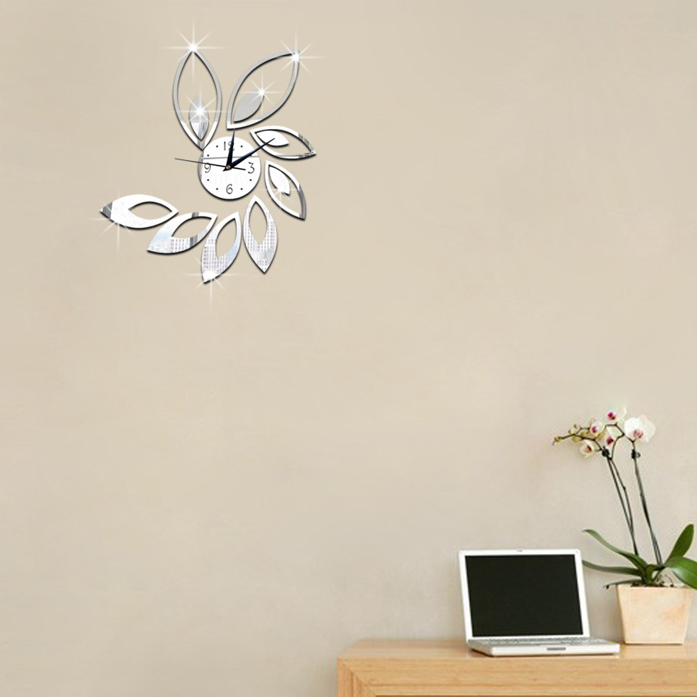 Fashion home decoration lotus diy 3d acrylic mirror for 3d acrylic mirror wall sticker clock decoration decor