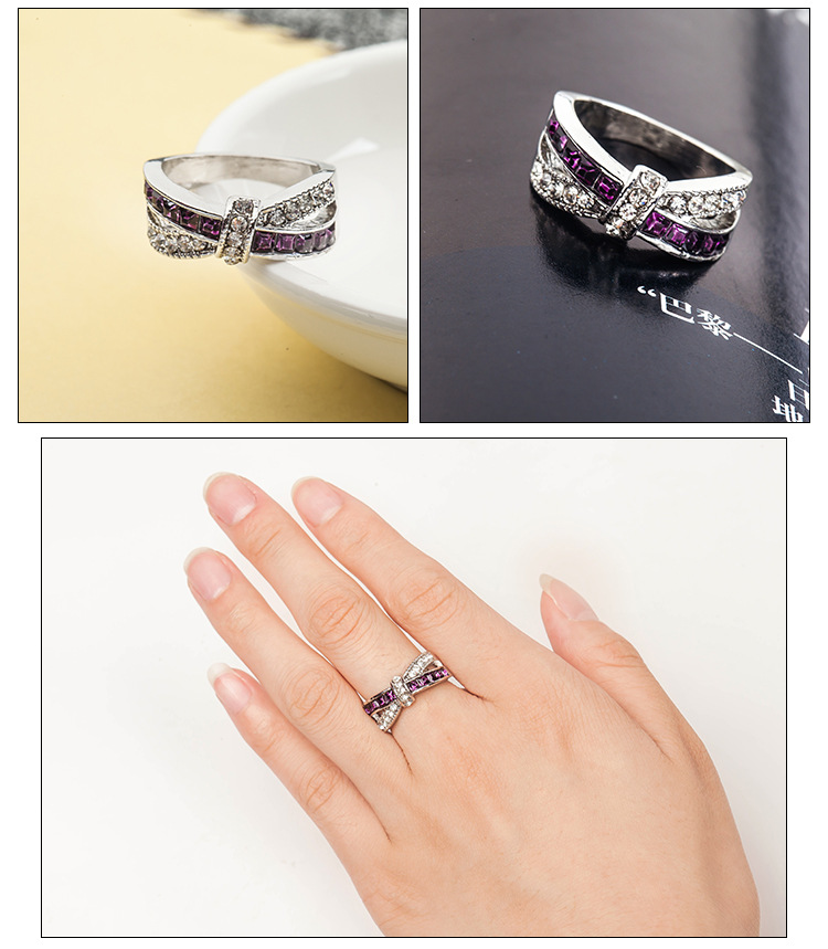 Cross-studded bow-shaped ring NHDP171413