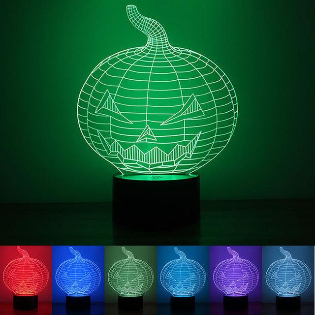 厂家现货批发1.5W南瓜小夜灯  USB供电按钮式3D创意七彩色LED灯