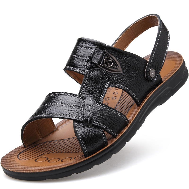 Summer Extra-large Size Men's Beach Toe Top Layer Leather Sandals Slippers