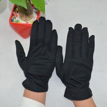 自产自销黑色礼仪手套 棉毛作业劳保手套 棉毛布薄款作业检查手套