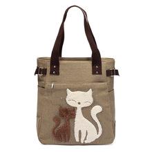 高高路绒钻猫咪女包帆布包批发手提包购物大单肩包妈咪包GW093