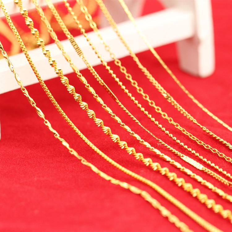 24K铜镀金细链子  越南沙金小项链女 单双水波瓦片元宝小麻花W扣