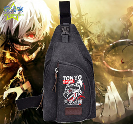 Tokyo Ghoul Men and women canvas outdoor dual-use shoulder Messenger bag small bag casual chest bag