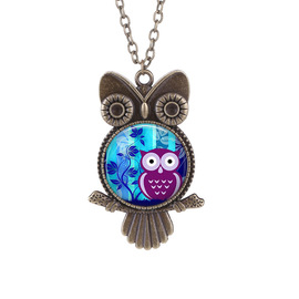 Owl time gemstone glass necklace European and American new vintage neck chain sweater chain Yiwu