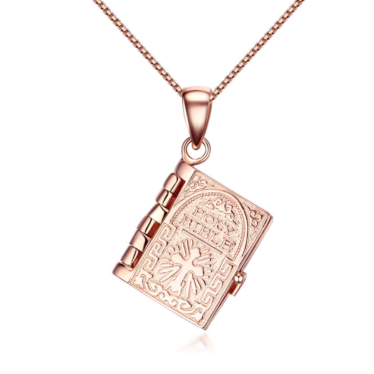 日韩饰品925纯银女款圣经吊坠 欧美十字架锁骨项链情人节礼品