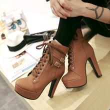冬季新款高跟马丁靴欧美防水台粗跟短靴外贸大码靴30-50一件代发