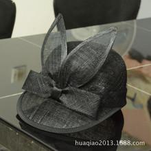 华巧 菲律宾麻纱帽耳朵帽子加网复古潮沙滩帽遮阳帽子俏皮女士