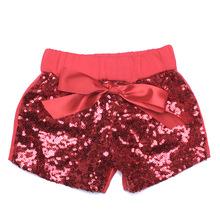 童裝 外貿女童 亮片短褲 時尚童裝閃亮亮蝴蝶結純綿短褲三件代發