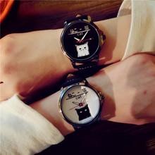 韩国可爱卡通小猫文字控皮带情侣潮学生日?#31561;?#22969;原宿时尚黑白手表