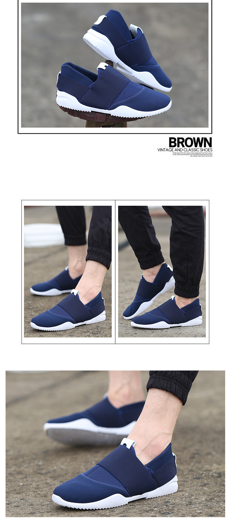 Men Slip-Ons Higher Shoes Men's Casual Shoes Breathable Canvas Sneakers Shoes For Men blue 39 4