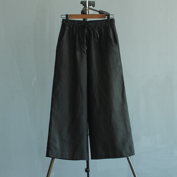 女式微喇棉麻女裤宽松九分裤 纯亚麻!水洗产品!多色可定做