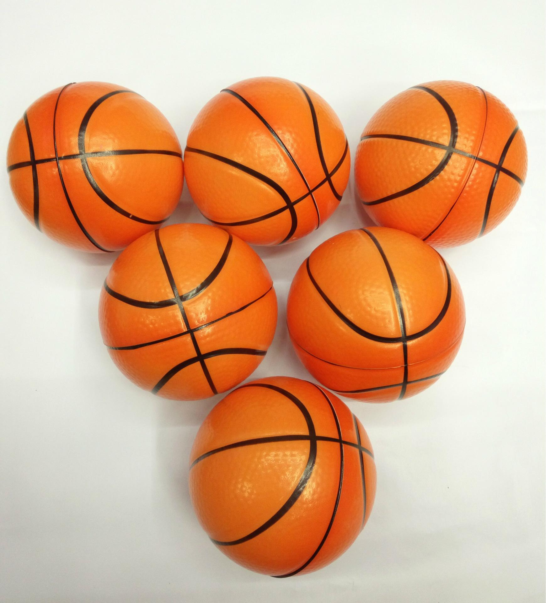 厂家直销儿童运动玩具球 pu发泡海绵弹力蓝球10cm玩具篮球