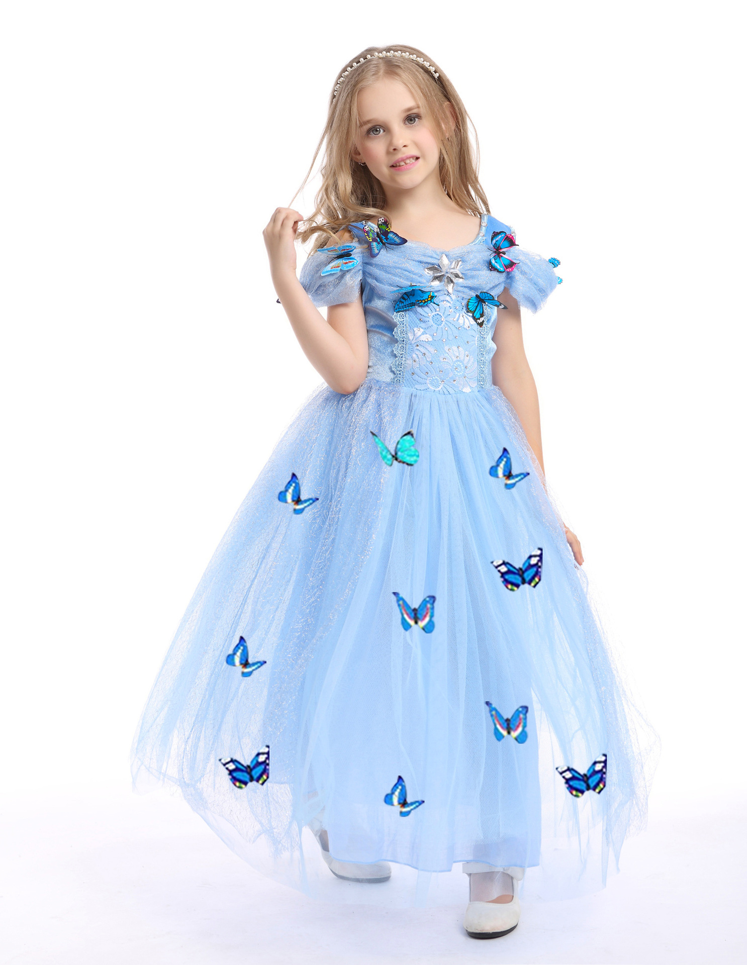 a1979635b7 snowflake diamond dress 2018 fancy costumes for kids blue gown Halloween  baby girl butterfly dress 5 Layers Girls clothes in stock