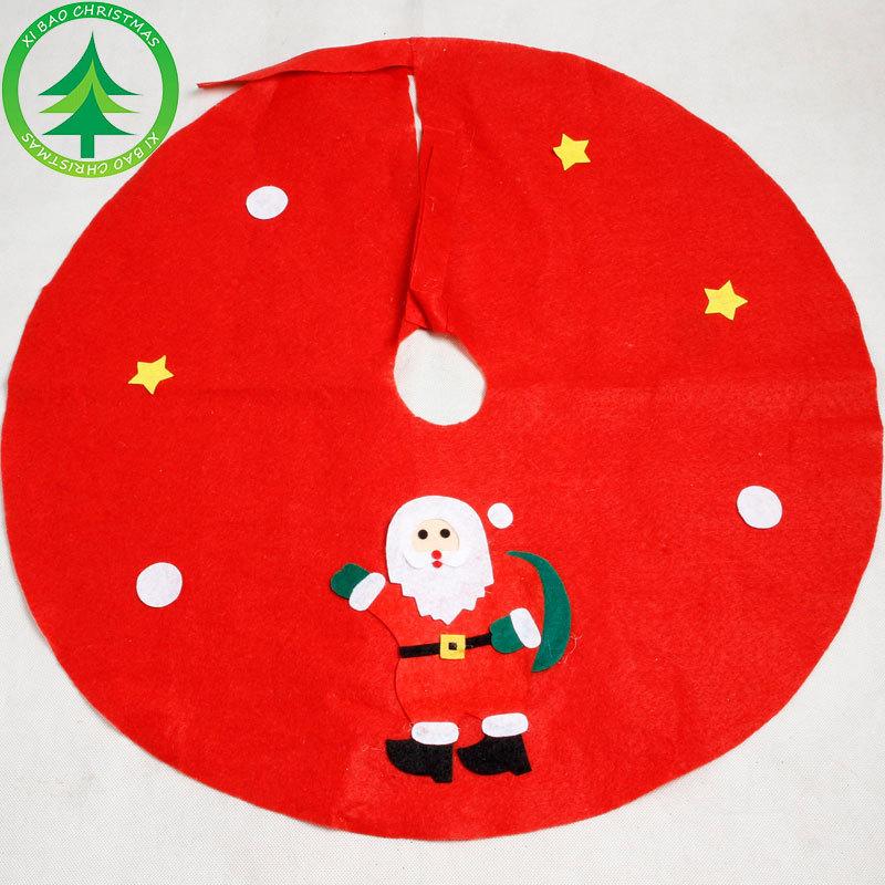 禧宝圣诞 红色无纺布圣诞树裙 圣诞老人贴花树裙圣诞节圣诞树围裙
