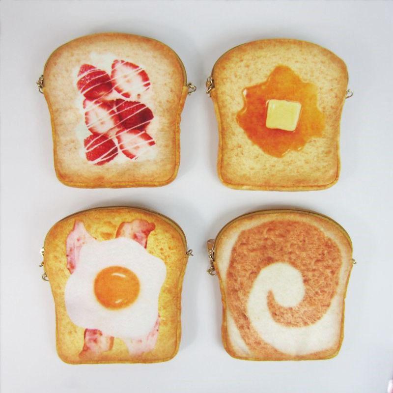 原宿创意女包可爱荷包蛋包吐司面包链条手机包日韩布艺迷你小包包