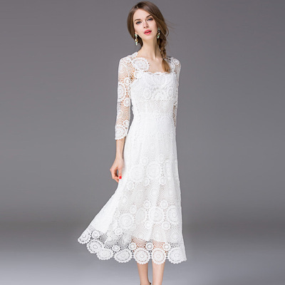 Elegant water - soluble fabric white dress Slim skirt T2154