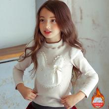 韩版童装2017冬新款加绒保暖女童打底衫 甜美百搭毛绒小兔中领T恤