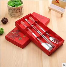 活動禮品 創意青花瓷勺筷叉三件套 不銹鋼餐具禮盒套裝 廠家直銷T