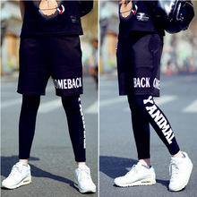 邓超baby男短裤紧身裤假两件打底裤套装跑男明星同款个性运动裤