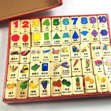 儿童木质益智早教学习积木玩具木丸子知识多米诺厂家直销