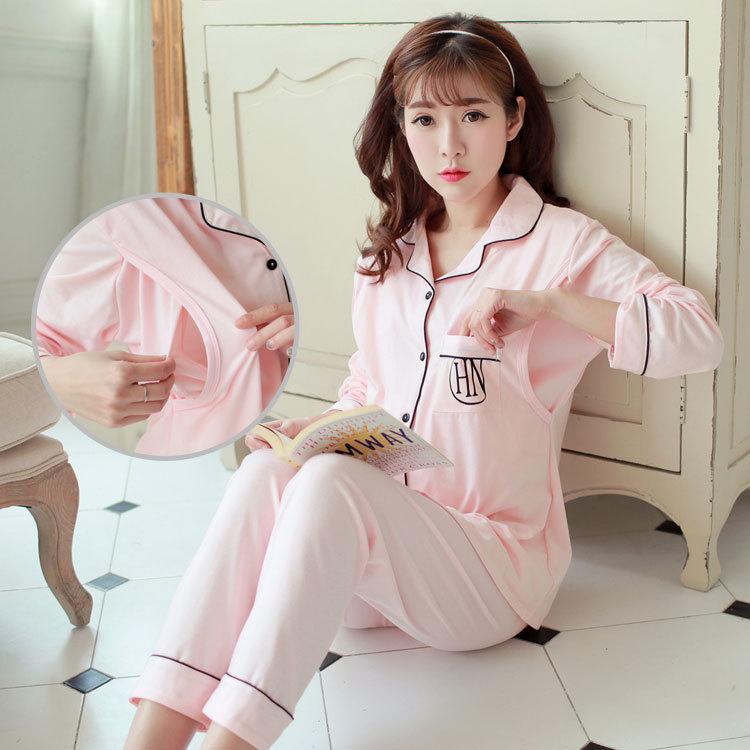 新款纯棉月子服 外出时尚孕妇装 春夏秋季睡衣哺乳衣哺乳服家居服